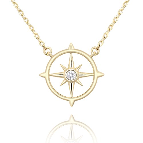 925 Sterling Silver Star Pendant - Lancharmed 925 Sterling Silver Star Pendant Necklace Cubic Zirconia 14k Real Gold Plated for Women Girls Teens