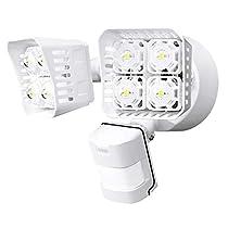 SANSI LED Security Motion Sensor Outdoor Lights,250W Incandescent Equivalent, 5000K Daylight, Waterproof, ETL ListedFloodlights,White