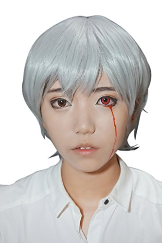 Nuoqi Men's Anime Short Silver White Hair Cosplay Wigs