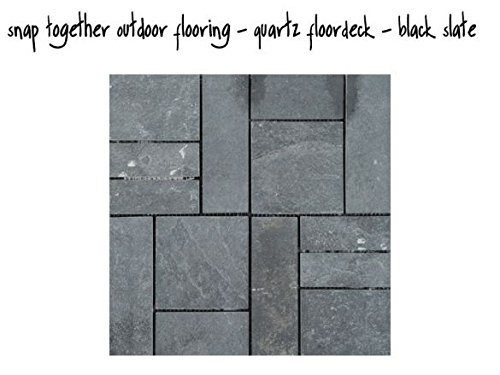 Windowbox Snap Together Outdoor Flooring Tiles - Real Stone Patio Tile - 5/Box - Slate Color ()