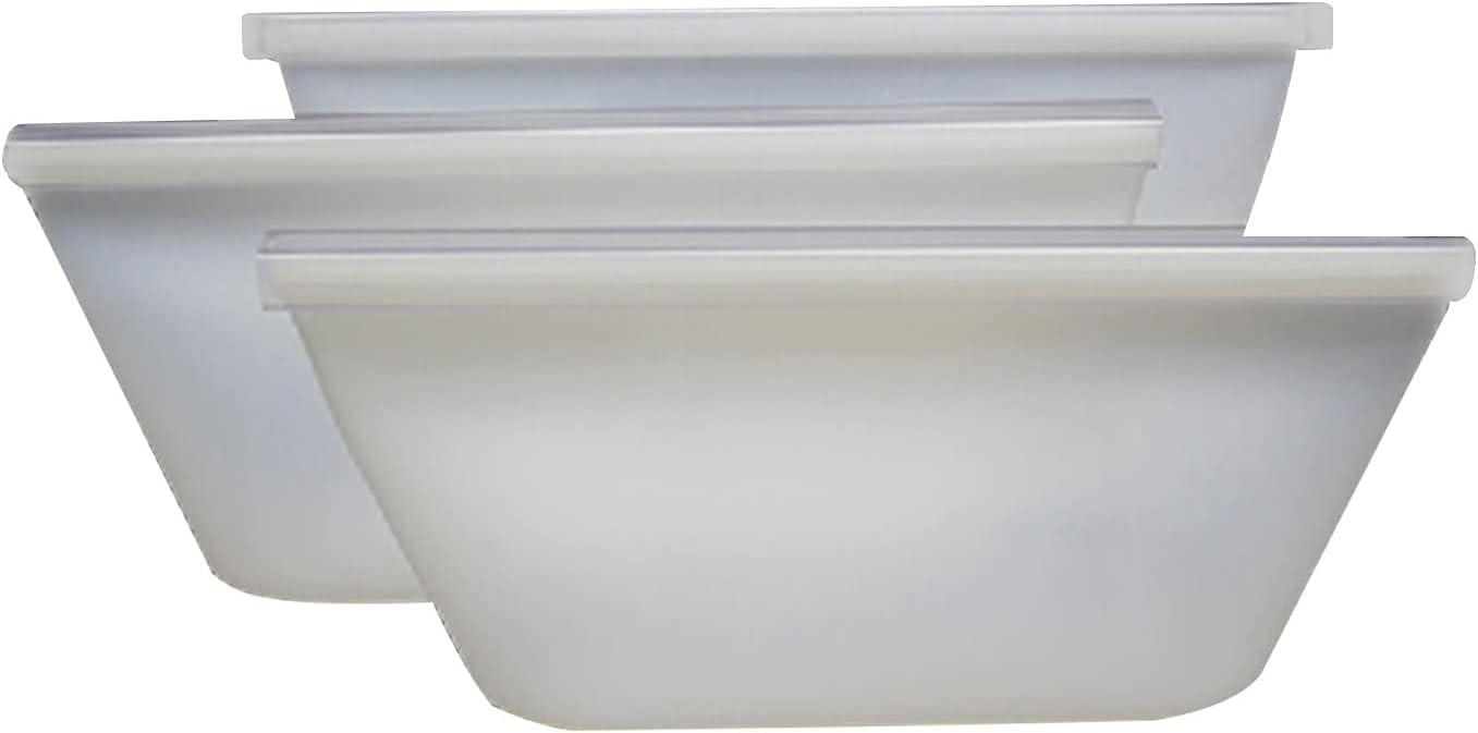 8Pcs Silicone Food Storage Bag Reusable Seal Ziplock Vacuum Fresh, Durable Leakproof Easy Open Food Storage Bag (White)
