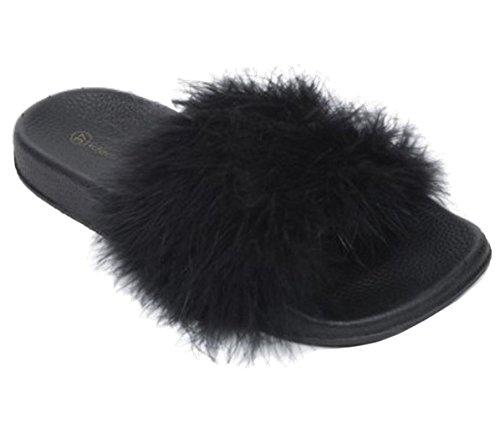 SHU CRAZY Womens Ladies Fur Slip On Flat Rubber Low Wedge Comfy Slider Sandals Shoes - I60 Black b1HPmBA9n