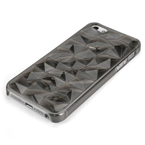 BoxWave iPhone 5Razmadaz Housse–Slim-Fit Ultra léger Transparent Clear Coque rigide en 3d à facettes Pierre précieuse Texture conçu pour iPhone 5(Quartz fumé)
