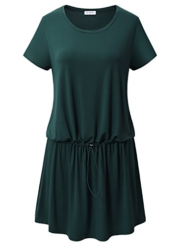 Women's Summer Fashion Casual Plus Size Short Sleeve Dress Green - 3