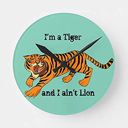 Amazon com: OSWALDO Tigers Lions Puns Decorative Round