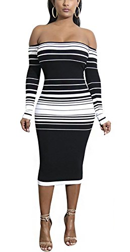 PrettySoul Women Sexy Ribbed Off Shoulder Long Sleeve Maxi Knit Sweater Bodycon Pencil Midi Dress Stripe White, Medium