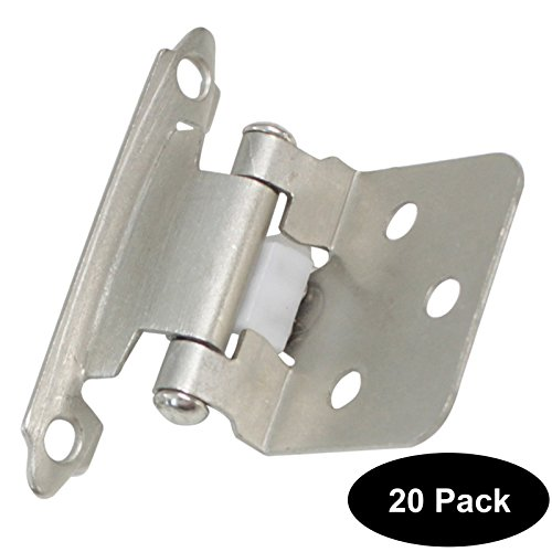 20 Pack(10 pairs) Decorative Self Closing Face Mount Flush Kitchen Cabinet Hinges Variable Overlay Satin Nickel