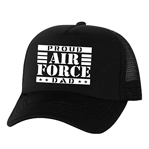 Proud AIR FORCE Dad Truckers Mesh snapback hat in Black - One Size