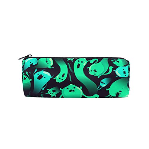 JERECY Halloween Creepy Ghost Pattern Pencil Case Pouch Bag School Stationery Pen Box Zipper Cosmetic Makeup -