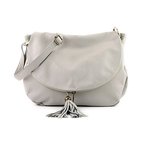 Grey zipper Made compartment Italy bag leather Crossbody shoulder Saddle leather bag Light soft OLGA calfskin two in zgaIXq