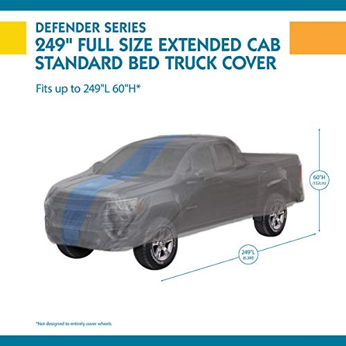 Limited 2 Year Warranty Duck Covers Defender SUV//Truck Cover All Weather Protection 1 in. Fits SUVs or Full Size Trucks with Shell or Bed Cap up to 19 ft