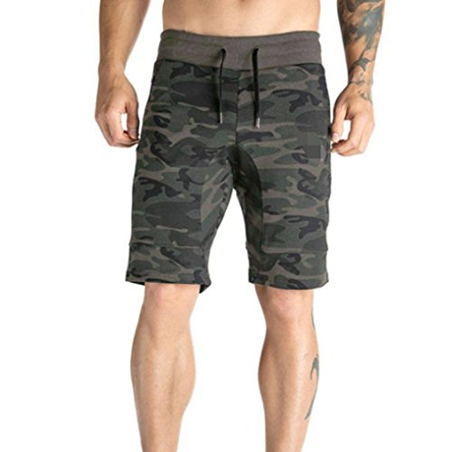Kstare Men Shorts,Men's Casual Elastic Camo Jogger Sport Shorts Relaxed Fit With Zipper Pocket (Army Green, XL) (Relaxed Short Training)