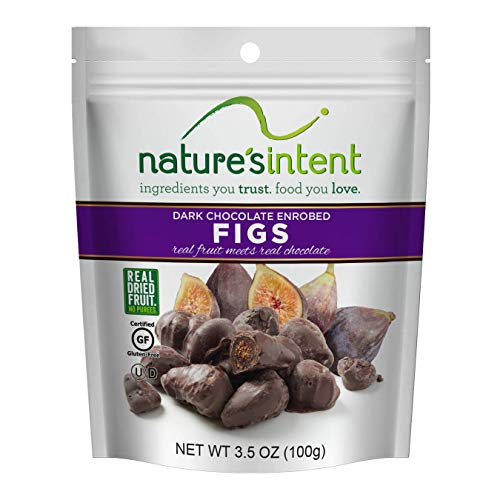 Natures Intent Dark Chocolate Covered Dried Fruit- Figs 3.5 oz. (4 pack) Gluten Free, Whole Food Snacks