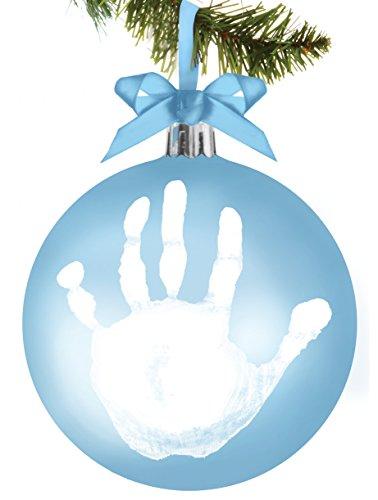 Blue Dog Ornaments - Tiny Ideas Baby's Handprint Ball Holiday Keepsake Ornament, Blue