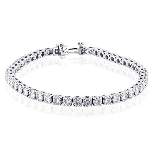 10K Or Blanc ronde bracelet de tennis en or 973/4Outlet -