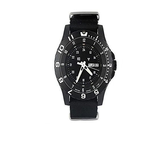 Traser Swiss H3 100072 Mens Black 6 Mil-g Tritium Tactical Nylon Strap Band Black Quartz Dial Watch