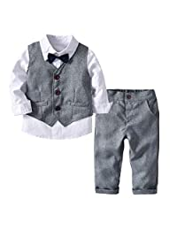 BINIDUCKLING Kid Formal Suit with Bow Tie, Boy 4 Pcs Clothing Set Shirt Vest and Pants
