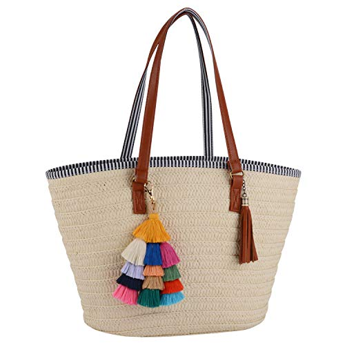 (COOFIT Straw Bags Beach Bags Pompom Shoulder Bags Summer Woven Bags Tassel Bags)
