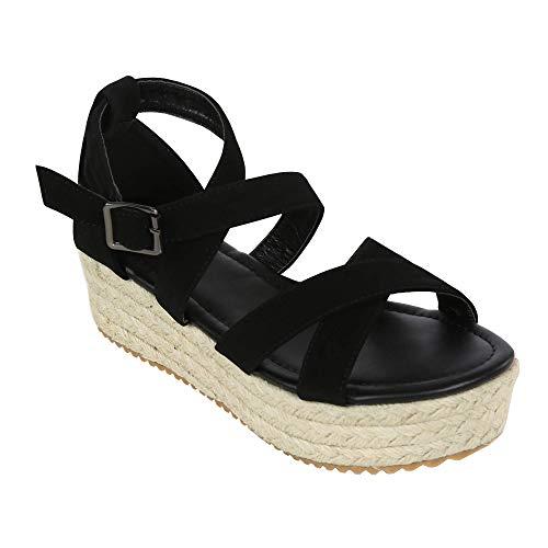 XMWEALTHY Women's Platform Wedges Heel Sandals Summer Strappy Open Toe Espadrilles Sandals Size 9 Black