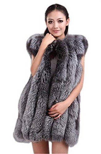 Genuine Fox - YR Lover Women's Vertical Texture Whole Skin Silver Fox Fur Vest Waistcoat