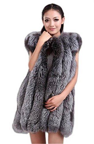 YR Lover Women's Vertical Texture Whole Skin Silver Fox Fur Vest Waistcoat