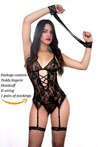 SophiaLove Women 4 Pcs Sexy Lace Lingerie Garter Belts Corset Teddy Bodysuits One Size (XXS-M) (Black) (Garter Belts Corsets)