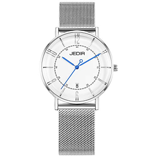 JEDIR Women's Watch Minimalist Fashion Classic Quartz Wristwatch Analog with Date White Dial and Milanese Mesh Band -