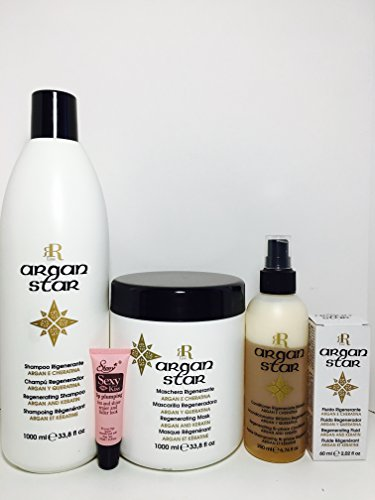 RR Line Racioppi Argan Star Regenerating Shampoo 1000ml/33.8oz, Mask 1000ml/33.8oz, Regenerating Fluid 60ml/2.02oz & Bi-phase Conditioner 200ml/6.76oz - Free Starry Lip Plumping Gloss 10ml