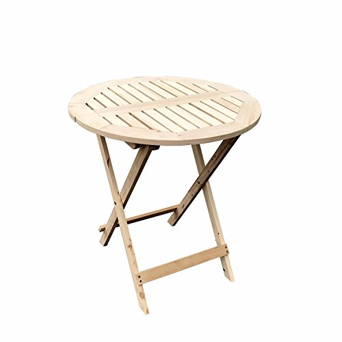 (UHOM Wooden Round Folding Table Outdoor Patio Portable Side Table Furniture Set Natural Color)