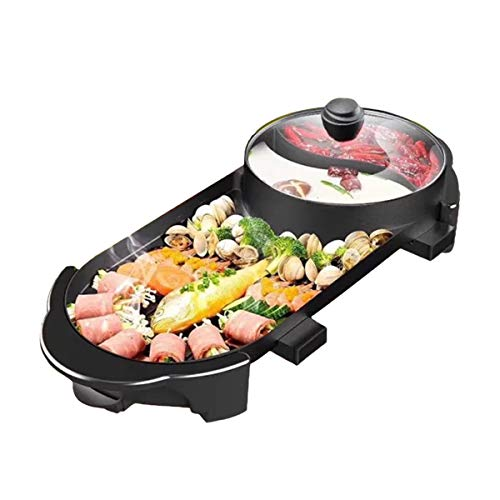 ThyWay 220V 2 In 1 Electric Barbecue Grill Teppanyaki Cook Fry Pan BBQ Oven Hot Pot Kitchen ()