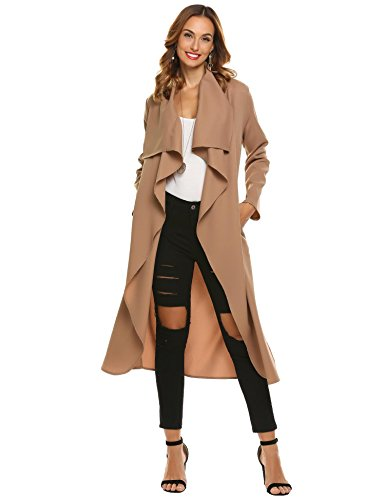 Suede Two Pocket Coat (Vansop Women's Outwear Longline Lapel Suede Self Tie Duster Jacket Trench Coat Cardigan With Pockets)