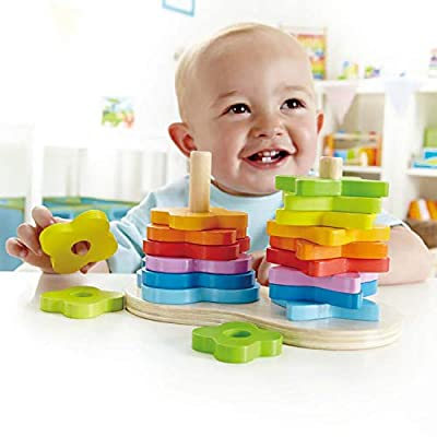Award Winning Hape Double Rainbow Stacker Wooden Ring Set Toddler Game: Toys & Games