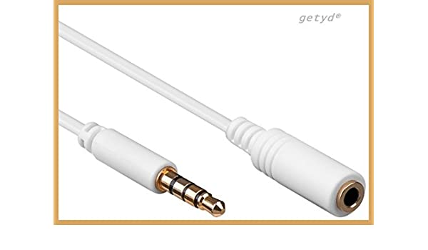 Cable alargador jack dorados 4 pines 3,5 mm por ejemplo para Apple iPod iPhone iPad Samsung: Amazon.es: Electrónica