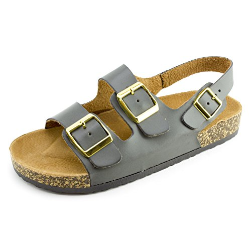 (Kali Womens Open Toe Buckle Strap Sandals Eagle II (DK Grey, 7))