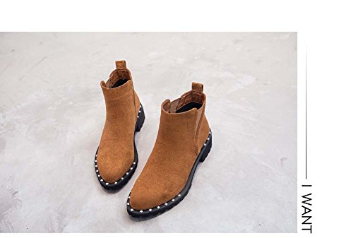 Remaches Con Orange De Las Ocasional Femenino Boots Cortas Botas De Nieve Mujeres Grueso Martin Botas Retro UK7 Suecouk3 Estilo qWUI6x6Fw7