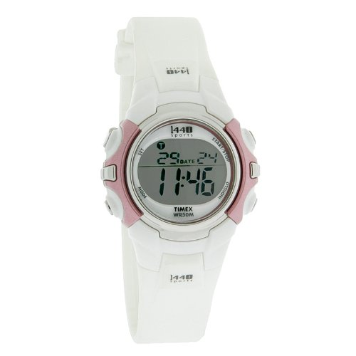 Timex 1440 Sport Ladies Digital Alarm Chronograph White Rubber Band Watch T5G881