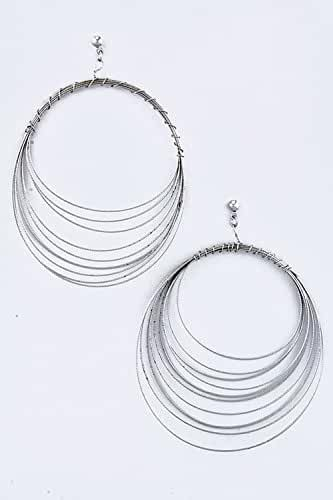 TRENDY FASHION JEWELRY LAYERED WIRE HOOP EARRINGS BY FASHION DESTINATION