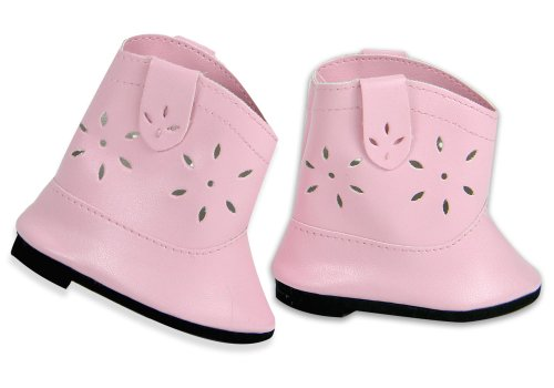 Pink Cowgirl Boots Kids - 18 Inch Cowgirl Boots, Pink Doll Shoes fits American Girl Dolls, Pink Cowgirl Doll Boots