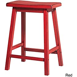 MattsGlobal French Country Antique Wooden Saddle Seat Bar Stool (Set of 2) (Antique Red)