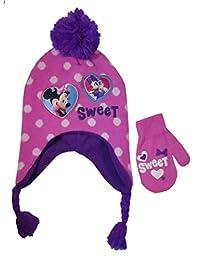 Disney Minnie Mouse Girls' Beanie & Mittens Set - pink, one size