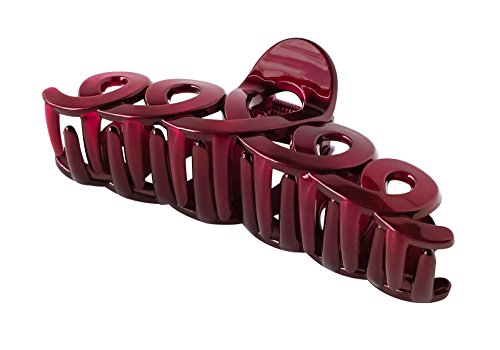 - Zhooch Hair Claw Clip -Twist & Swirl. Hair Jaw, Butterfly Hair Clip with Inner teeth, Premium quality, Painted Strong Hold Spring, for Thick Hair, Medium Hair. (Deep Burgundy)