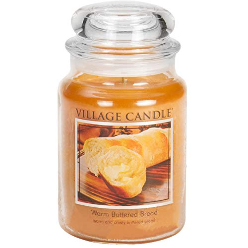 Village Candle Warm Buttered Bread 26 oz Glass Jar Scented Candle, Large (Fresh Baked Bread)