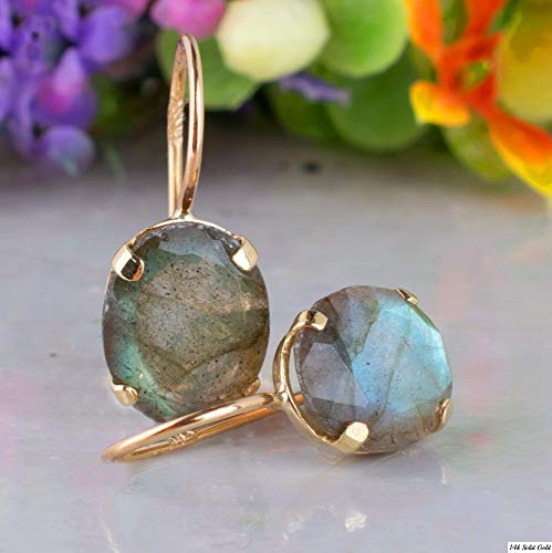 14K Gold Labradorite Oval Earrings - 14K Solid Yellow Gold Dainty Elliptic Earrings, March Birthstone, 8x10mm Natural Real Genuine Labradorite Gemstone, Perfect Handmade Gift for Classy Women
