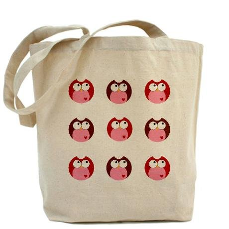 Pink and Brown Hoot Owls Heavyweight Canvas Tote Bag