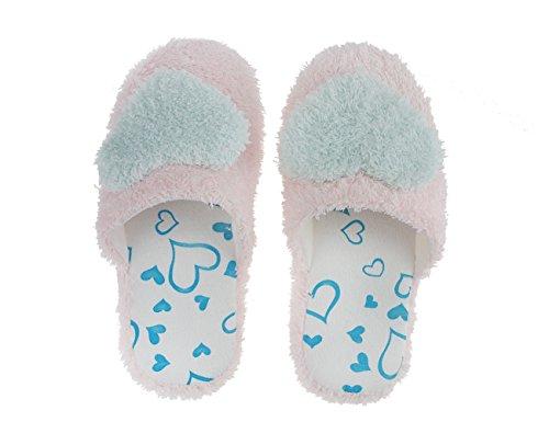 Fakeface Sweet Warm Coral Fleece Slippers Antiskid House Indoor Shoes For Teen Girls US Size 4-5 Blue j6NRuTPr