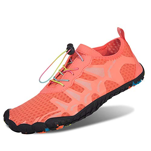 FEIFAN Mens Womens Water Shoes Beach Swim Barefoot Athletic Shoes Yoga Kayaking Running Walking Fivefinger Pink 40