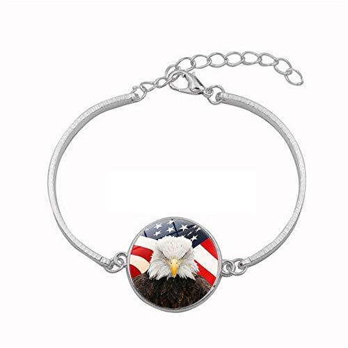 Eagle Gemstone - Mens Bracelets Bangles,Eagle and American Flag Time Gemstone Bracelet Ladies Student Jewelry Bracelet Jewelry Europe and The United States Bracelet