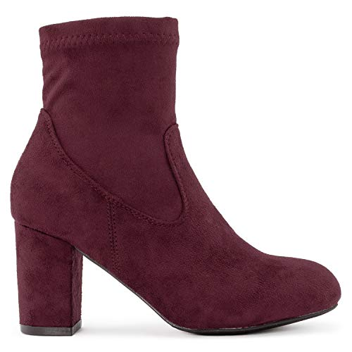 Bootie Stretchy Burgundy Ankle OF ROOM On Women's Sock Side Faux FASHION Soft Suede Zipper Boots Slip Heel RF Chunky Wrapped TX6w4qwnZ