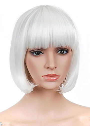 LOUISE MAELYS Straight Short Wig Bob Hair Cosplay Wig Anime Costumes + Wig Cap White (Anime Costume Ideas)