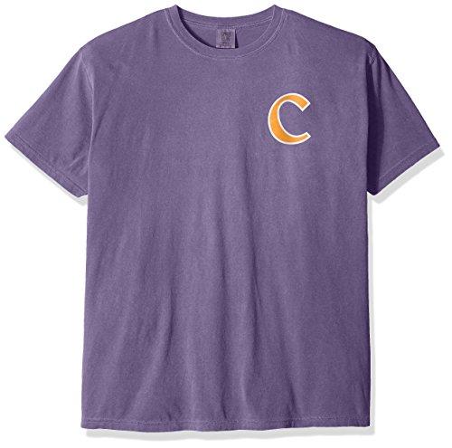 NCAA Clemson Tigers State Baseball Lace Short Sleeve T-Shirt, X-Large,Grape